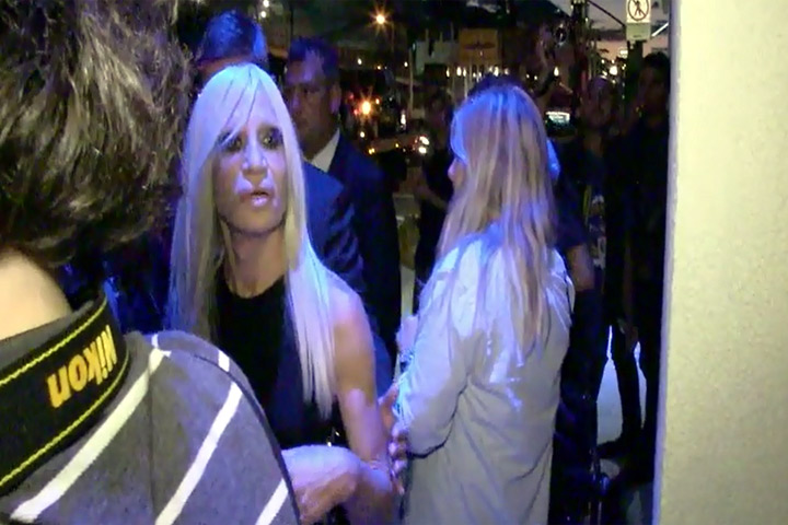 Donatella Versace And Daughter Allegra Spotted At The Versus Versace Spring 2015 Show At New York Fashion Week - Part 1